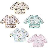 Lictin 5 Pcs Waterproof Long-sleeved Bibs - Bibs with Sleeves Adjustable Neckline for Babies (0-24 month)