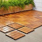 VIFAH V488 Interlocking Acacia Plantation Hardwood Deck Tile 4-Slat Style, 10-Pack, Teak Finish, 12 by 12 by 1-Inch