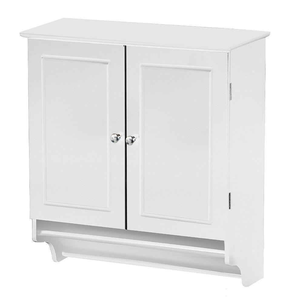 Yaheetech Bathroom/Kitchen Wall Mounted Cabinet White Double Door & Hanging Bar Storage Cupboard