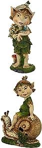 Design Toscano S/2 Pixie PETE & Perry Elfin GNOME Statues