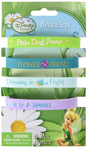 Disney Tinkerbell Colorful Rubber Bracelet Birthday Party Accessory Favour (4 Pack), Multi Color, 2 1/2