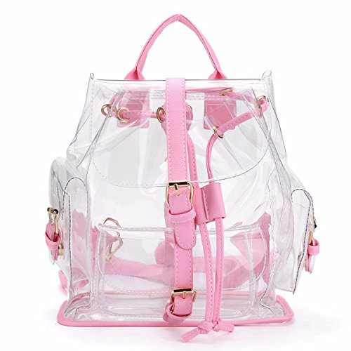 Clear Backpack,Charminer Cute Knapsack Satchel Women Chic Candy Color Drawstring Transparent School Bag