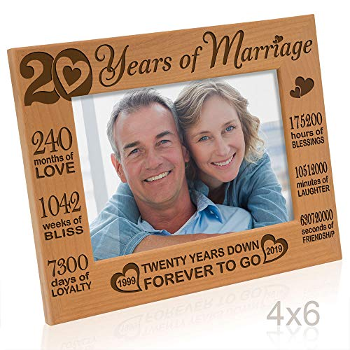Kate Posh - 20 Years of Marriage 1999 Through 2019, Our 20th Anniversary Engraved Natural Wood Picture Frame, Twenty Years Together, Wedding for Husband & Wife (4x6 Horizontal)