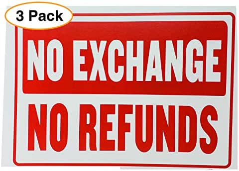 "NO Refund NO Exchange Business Sign Retail Store Policy Sign Red & White 12"" x 16"" (3 Pack)"