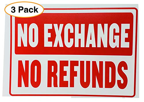 NO Refund NO Exchange Business Sign Retail Store Policy Sign Red & White 12