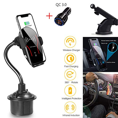 BUTTLE Wireless Car Charger Mount,Full-Automatic 10W/7.5W Qi Fast Charging Cup Phone Holder & Windshield Dashboard Air Vent Car Phone Mount Compatible with iPhone,Samsung All and More(+QC 3.0 Adapter)