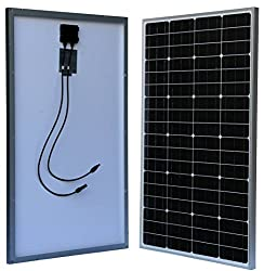 WindyNation 100 Watt 100W Monocrystalline Photovoltaic PV Solar Panel Module 12V Battery Charging for Boat, RV, Off-Grid