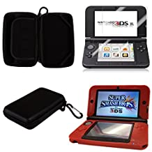HDE Protective Hard Carrying Case for Nintendo 3DS XL [Nintendo DS] + Red Gel Skin & Screen Protector