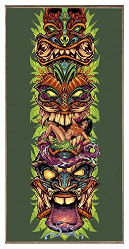 Legend Studio Tiki Totem - Birch Wood Print (12''x 24'') Bar Sign 24' Tropical Decor
