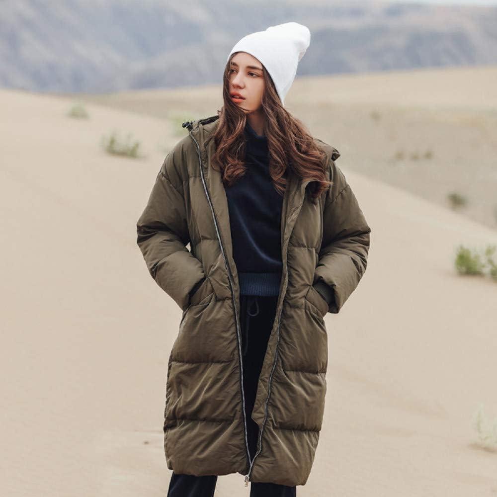 AGAOXING Giù Vestiti Nuovo Piumino Invernale da Donna Casual Lungo Cappotto Spesso Caldo Cappotto da Neve con Cappuccio Army Green