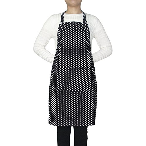 Opromo 12-Pack Cotton Canvas Adjustable Chef Kitchen Aprons-Black Dot-XL by Opromo
