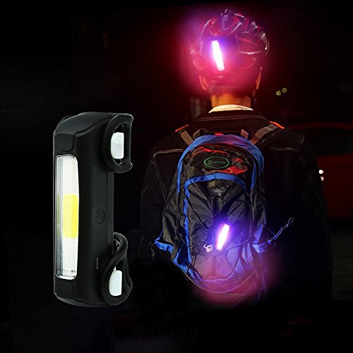 Thorfire Bike Lights Ultra Bright Cycling Lights USB Rechargeable Bicycle Tail Light Red/Blue/White 7 Light Modes, High Intensity Rear LED Fits On Any Road Bikes, Helmets for Optimum Cycling Safety by Thorfire (Image #5)