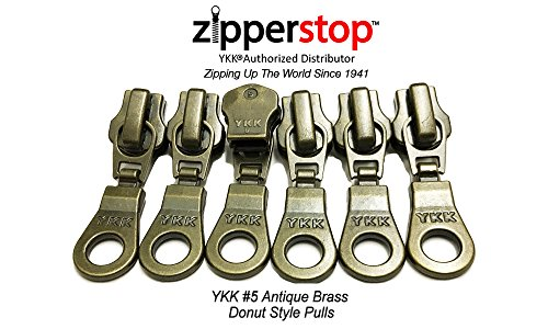 ZipperStop Wholesale - Zipper Repair Kit Solution YKK #5 Zipper Heads - Sliders with Pulls #5 - YKK Brand Donut Style Pulls - 5pcs with Top and Bottom Stoppers (Antique Brass)