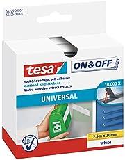 tesa On & Off Klittenband Universal - Plakbare klittenbandtape - Dubbelzijdig om lichte voorwerpen te bevestigen, zonder boren - Wit - Rol van 2 cm x 250 cm