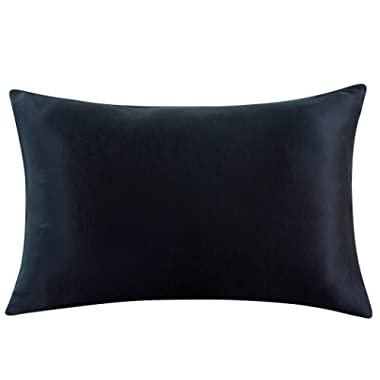 ZIMASILK 100% Mulberry Silk Pillowcase for Hair and Skin,Both Side 19 Momme Silk, 1pc (King 20''x36'', Black)