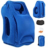 Inflatable Travel Pillow, Angel Love Inflatable Air Pillow with Ear Plugs, Eye Mask and Carrying Bag, Design for Airplane, Commute Transportation, Camping or Office Napping(Blue)