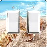 Rikki Knight Seashells in Sand on Beach Design Double Rocker Light Switch Plate