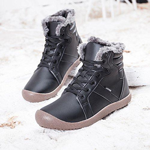 Coface Hombres Botas De Nieve De Invierno Al Aire Libre Con Piel Caliente Forrada Botines Antideslizantes De Cuero Negro