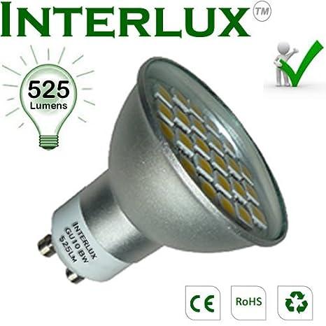 Interlux - Bombilla led (GU10, 525 lúmenes), luz blanca brillante El downlight
