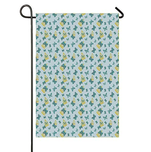 (SmallGardenflagMim Exotic Butterflies with Artistic Wings Flying Among Birdcages Garden Yard Flag 12