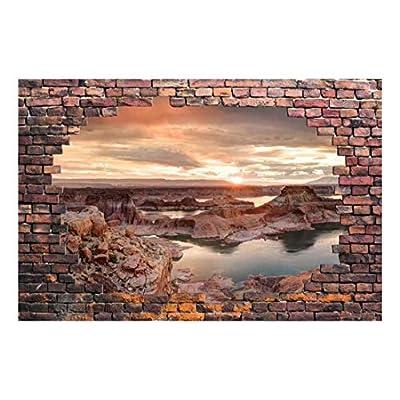 Wall26 - Large Wall Mural - Majestic Landscape Viewed Through a Broken Brick Wall | 3D Visual Effect Self-Adhesive Vinyl Wallpaper/Removable Modern Decorating Wall Art - 66