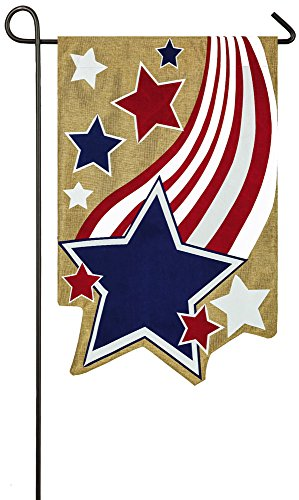 Display Flag Memorial Day (Evergreen Stars and Stripes Double-Sided Burlap Garden Flag- 12.5