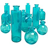 Aqua Blue Glass Bottle Set 3 Shape Variety Pk Food Safe Apothecary Jars For Crafts Decorative Bud Vases Kitchenware Diy Reed Diffusers Cylinder