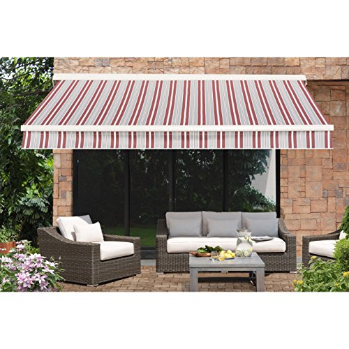 Red Awning Striped - Sunjoy 110108006SS Semi-Cassette Awning, Red Striped