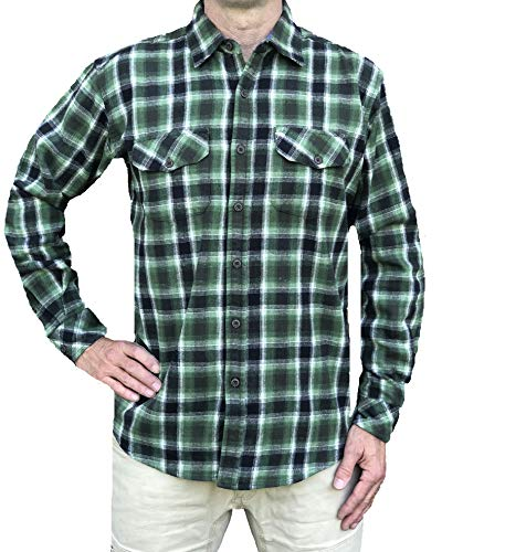 Inland Pacific 5 oz Washed Cotton Flannel Shirt, 2 Chest Pockets with Flaps Duffel Green X-Large (Flannel 5 Shirt Oz)