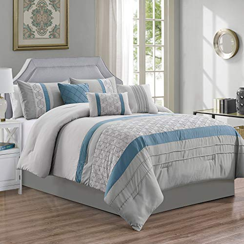 JML Comforter Set, 7 Piece Microfiber Bedding Comforter Sets with Shams and Decorative Pillows – Luxury Quilted Patchwork Pattern, Perfect for Bed Room, Guest Room (#15-Blue & Grey, Queen)