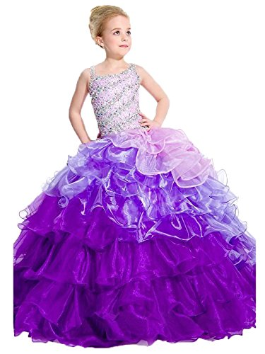 WZY Girls' Asymetrical Neck Rhinestones Ball Gowns 8 US Purple by WZY