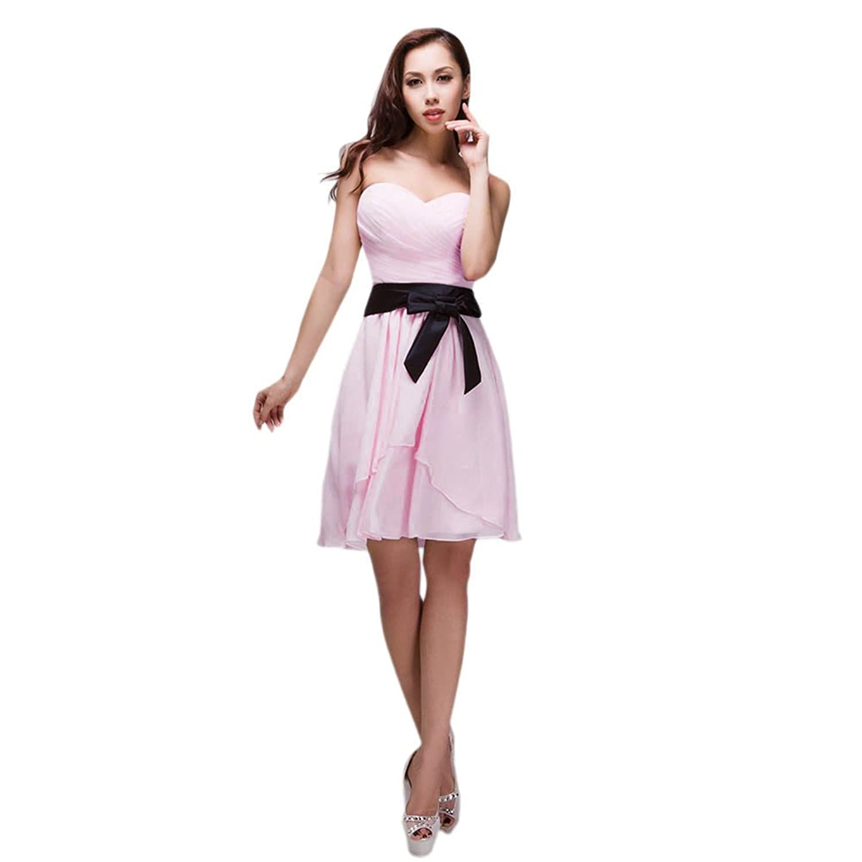 Vimans? Short Evening Dresses Sweetheart Pleated Chiffon Dress for Women