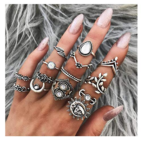 Eoumy Vintage Knuckle Ring Set for Women Retro Silver Hollow Carved Flowers Leaf Sun Moon Stackable Rings Set
