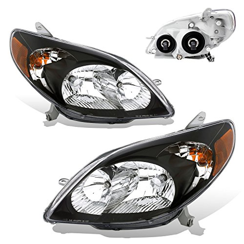 Black Matrix Design - SPPC Crystal Headlights Black Assembly with Amber For Toyota Matrix - (Pair) Includes Driver Left and Passenger Right Side Replacement Headlamp