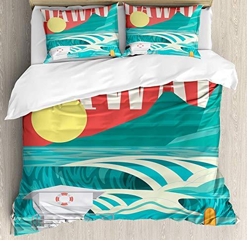 Crystal Emotion Hawaiian 4Pieces Home Comforter Bedding Sets Duvet Cover Sets Bed Sheet Bedspread for Adult Kids,Flat Sheet,Pillow Shams Set, King Size ()