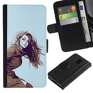 Paccase / Billetera de Cuero Caso del tirón Titular de la tarjeta Carcasa Funda para - show girl - Samsung Galaxy S5 V SM-G900