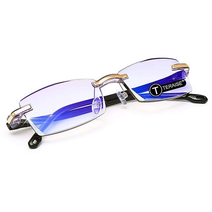 c89e368336 TERAISE Gafas de lectura sin montura Moda Corte de diamante Diseño  antifatiga Lente transparente Lectores de