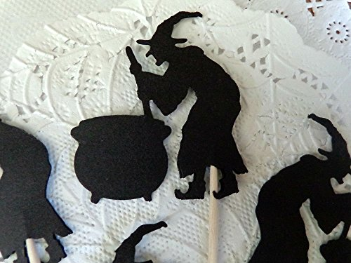 Witch and Cauldron Cupcake Toppers - Halloween Party Picks - Food Picks (Set of 12) by Honeybear Party Boutique