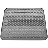 Silicone Dish Drying Mat - Large 19.7x15.7 - Sink Mat - Dish Draining Mat - Silicone Trivet Mat - Heat Resistant - Countertop Mat - Kitchen Drying Mat - Color Gray
