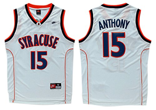 Syracuse University 15 Carmelo Anthony White College Jersey Size S