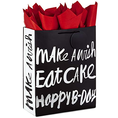 Hallmark Extra Large Gift Bag with Tissue Paper for Birthdays (Happy B-Day, Black and Silver) -