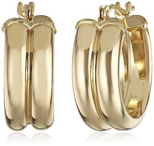 14k Yellow Gold Double Half Round Hoop Earrings