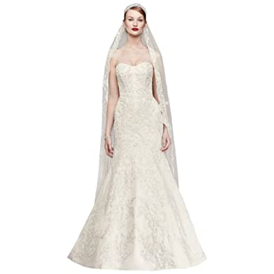 David\'s Bridal Oleg Cassini Satin Lace Strapless Wedding Dress Style ...