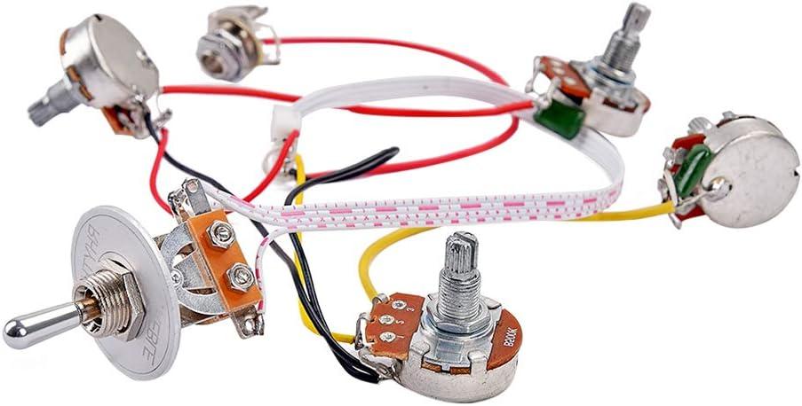 Artibetter Juego de accesorios para arneses de cableado para guitarra con 2 potenciómetros de 2 modos de interruptor de palanca de 3 vías para partes de guitarra GS LP (plateado)