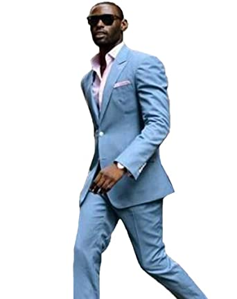 b234fa6aba92 Leader of the Beauty Light Blue Groomsmen Suits 2 Pieces Mens Suits Slim  Fit Wedding Suits for Men: Amazon.co.uk: Clothing