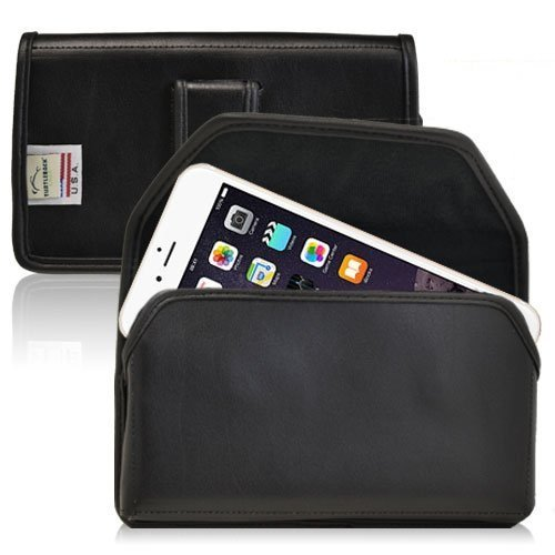 Turtleback Holster for iPhone 6 (4.7) Black Belt Case Leather Pouch with Executive Belt Clip Horizontal Made in USA