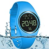 HitTopss Calorie Counter, IP68 Swimming Watch Kid Pedometer Activity Tracker with Accurately Track Steps/Distance/Calorie/Clock/Timer for Walking Running Kids Men Women(Non-Bluetooth Need) Blue