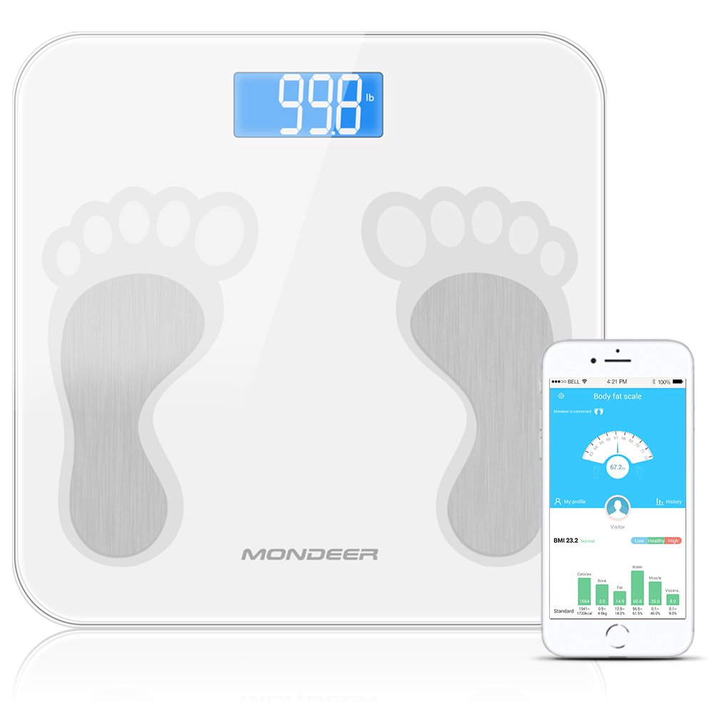 Bluetooth Body Fat Scale, Mondeer Wireless Smart Digital Bathroom Weight Scale with iOS & Android APP for Body Weight, Bmi, Calories, Bone Mass, Fat, Water, Muscle Mass and Visceral Fat