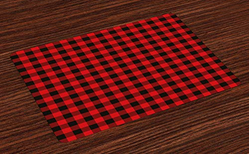 Ambesonne Plaid Place Mats Set of 4, Lumberjack Fashion Buffalo Style Checks Pattern Retro Style with Grid Composition, Washable Fabric Placemats for Dining Room Kitchen Table Decoration, Orange Black
