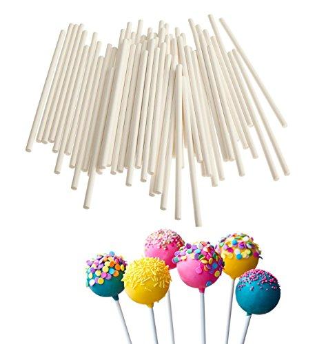 Qingsun Lollipop Sticks 4-Inch Sucker Sticks for Candy Suger Chocolate Cake Making 100Pack White ()